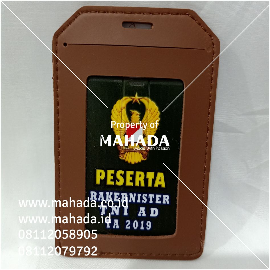 Flashdisk Kartu Custom dalam Card Holder Kulit